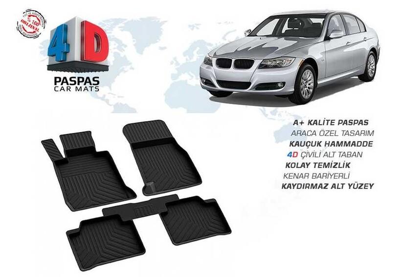 4D Paspas - Bmw E90 3 Serisi 4D Havuzlu Paspas Siyah 2005-2010 Arası