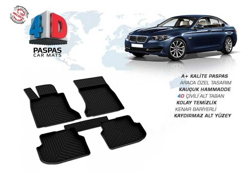 4D Paspas - Bmw F10 5 Serisi 4D Havuzlu Paspas Siyah 2013-2016 Arası