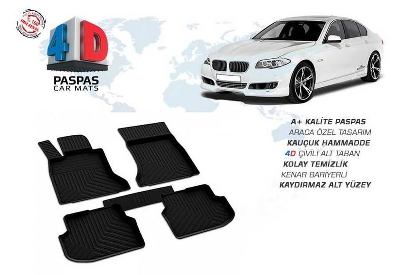 4D Paspas - Bmw 5 Serisi F10 X Drive 4D Havuzlu Paspas Siyah 2013-2016 Arası