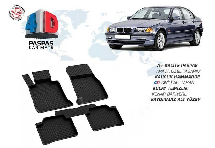 4D Paspas - BMW E46 3 Serisi 4D Havuzlu Paspas Siyah 1998-2005 Arası