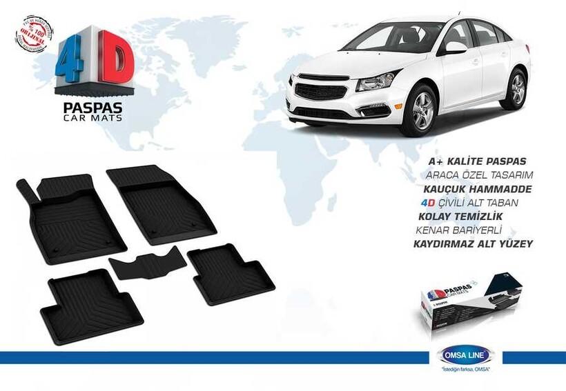 4D Paspas - Chevrolet Cruze 4D Havuzlu Paspas Siyah