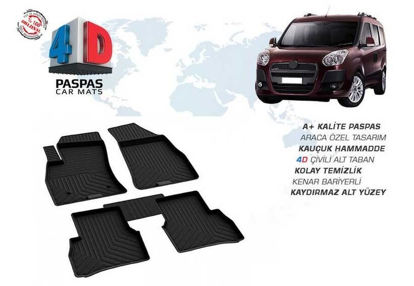 4D Paspas - Fiat Doblo 4D Havuzlu Paspas Siyah 2010 ve Sonrası