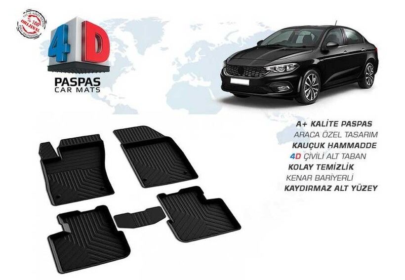 4D Paspas - Fiat Egea 4D Havuzlu Paspas Siyah 2015 ve Sonrası