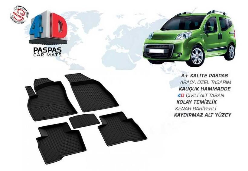 4D Paspas - Fiat Fiorino 4D Havuzlu Paspas Siyah 2008 ve Sonrası
