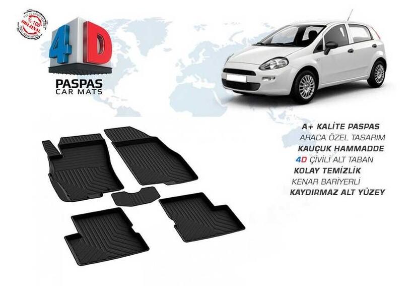 4D Paspas - Fiat Grande Punto 4D Havuzlu Paspas Siyah 2006 ve Sonrası