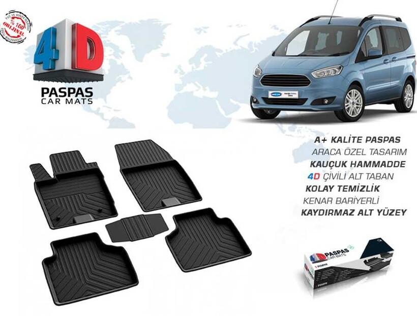 4D Paspas - Ford Courier 4D Havuzlu Paspas Siyah 2014 ve Sonrası