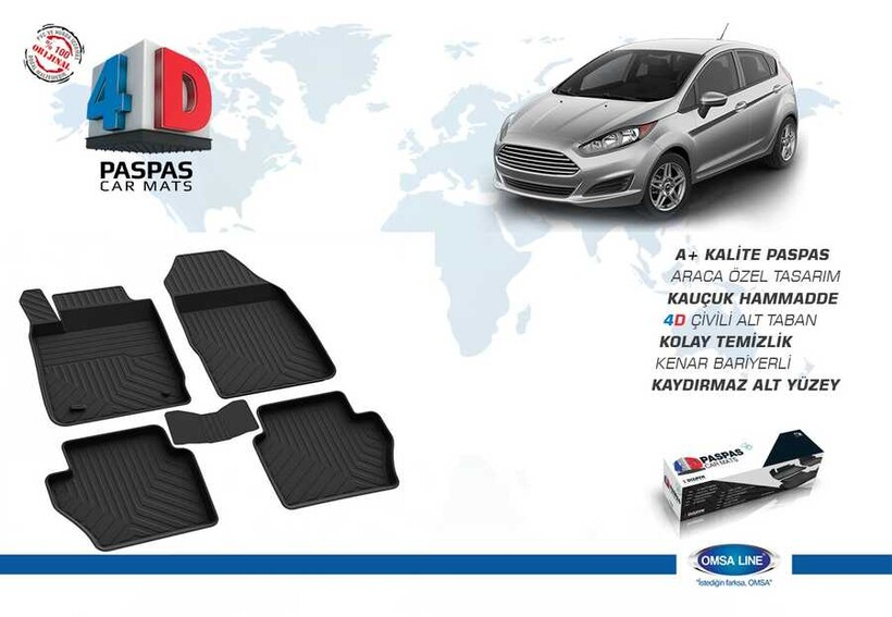 4D Paspas - Ford Fiesta 6 4D Havuzlu Paspas Siyah 2015-2017 Arası
