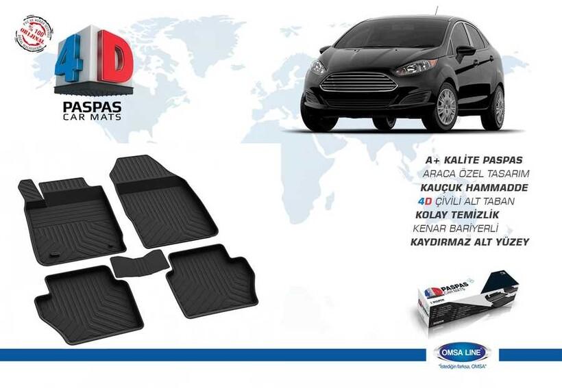 4D Paspas - Ford Fiesta 7 4D Havuzlu Paspas Siyah 2018 ve Sonrası