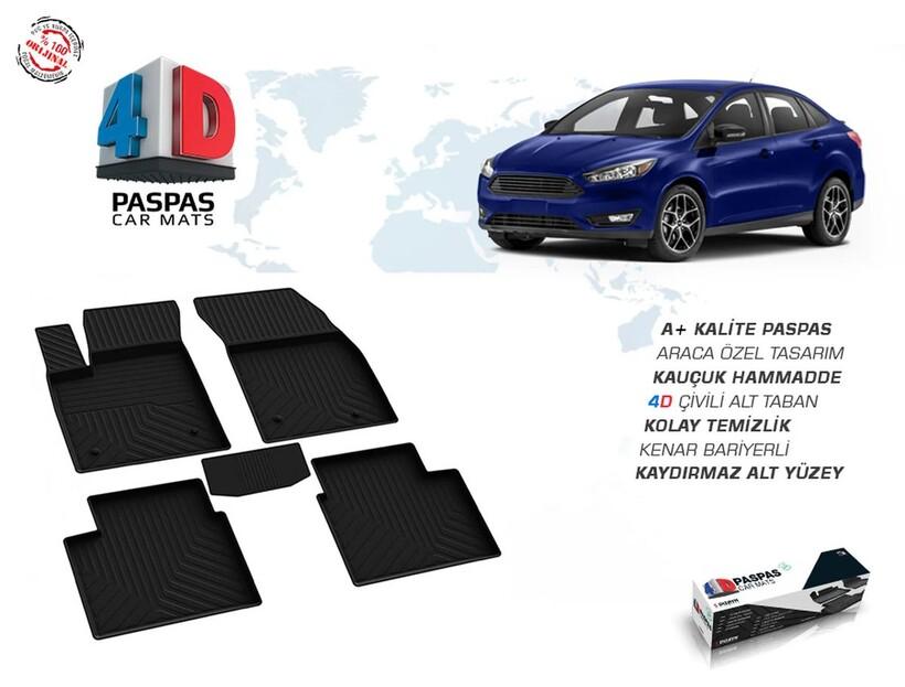 4D Paspas - Ford Focus 4 4D Havuzlu Paspas Siyah 2018 ve Sonrası