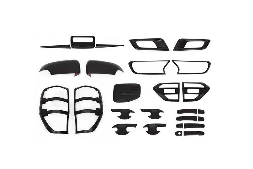 Krom Aksesuar » Omsa - Ford Ranger Wiltrack Siyah Krom 9'lu Set ABS 2015-2019 Arası