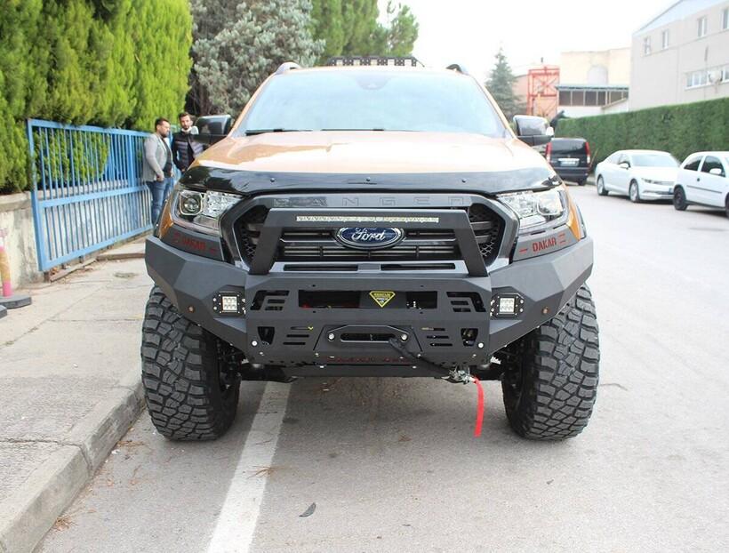 Ön Korumalar - Ford Ranger Dakar Çelik Ön Tampon Ledli (Sensörlü) 2011 ve Sonrası