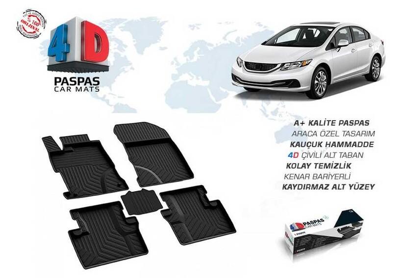 4D Paspas - Honda Civic FB7 4D Havuzlu Paspas Siyah 2012-2016 Arası