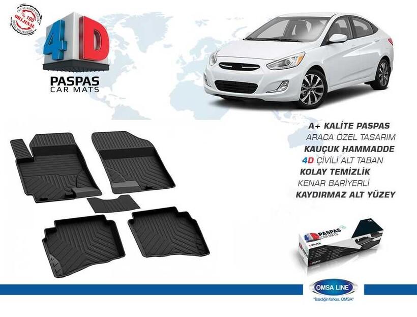 4D Paspas - Hyundai Accent Blue Solaris 4D Havuzlu Paspas Siyah 2010 ve Sonrası