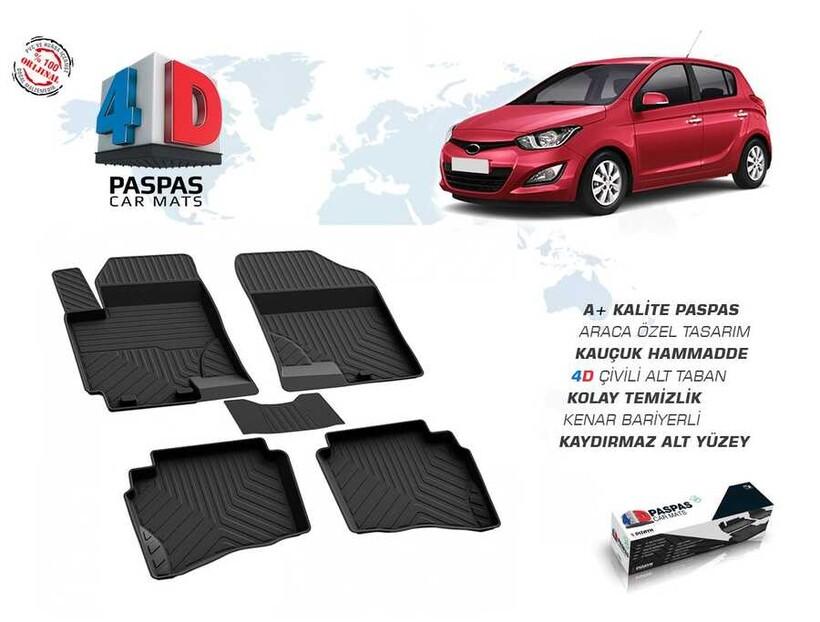 4D Paspas - Hyundai İ20 4D Havuzlu Paspas Siyah 2009-2014 Arası