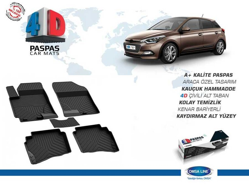 4D Paspas - Hyundai İ20 4D Havuzlu Paspas Siyah 2014 ve Sonrası