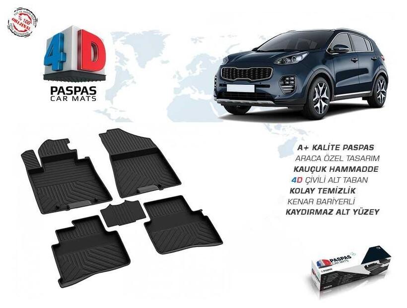 4D Paspas - Kia Sportage 4 4D Havuzlu Paspas Siyah 2016 ve Sonrası