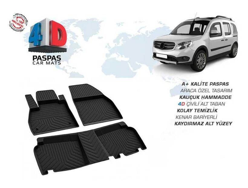 4D Paspas - Mercedes Citan 4D Havuzlu Paspas Siyah 2008 ve Sonrası