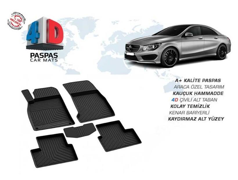 4D Paspas - Mercedes CLA Class W117 4D Havuzlu Paspas Siyah 2013 ve Sonrası