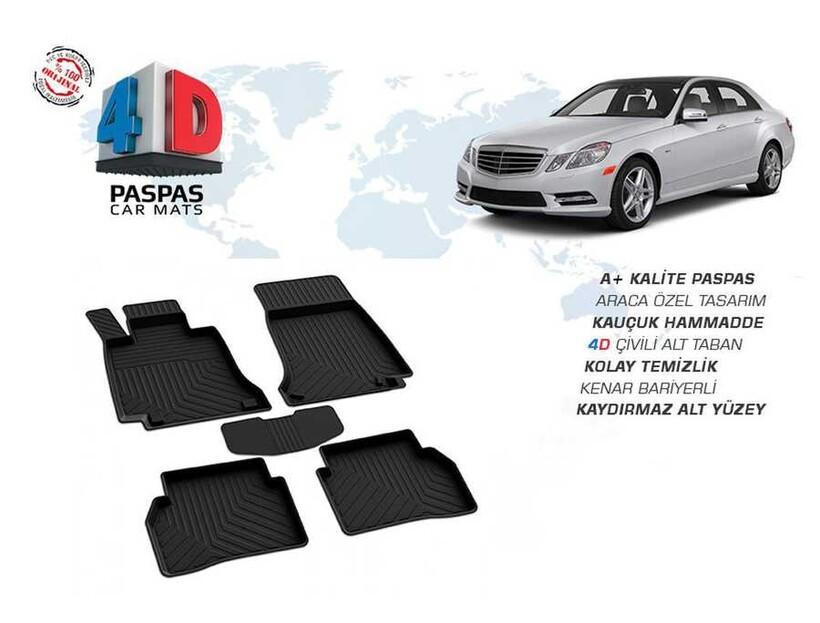 4D Paspas - Mercedes E Class W212 4D Havuzlu Paspas Siyah 2009-2016 Arası