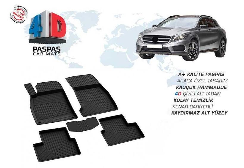 4D Paspas - Mercedes GLA Class 4D Havuzlu Paspas Siyah 2013 ve Sonrası