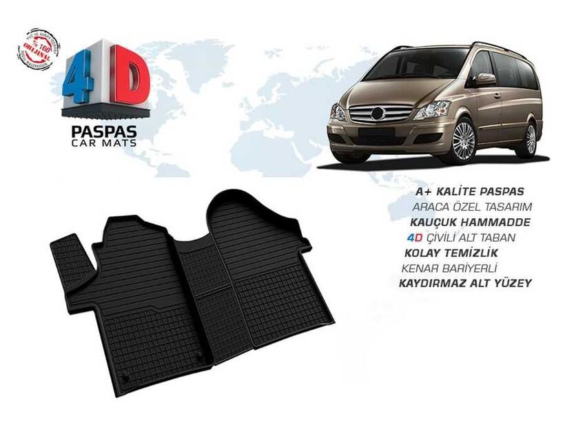 4D Paspas - Mercedes Viano 4D Havuzlu Paspas Siyah 2015 ve Sonrası