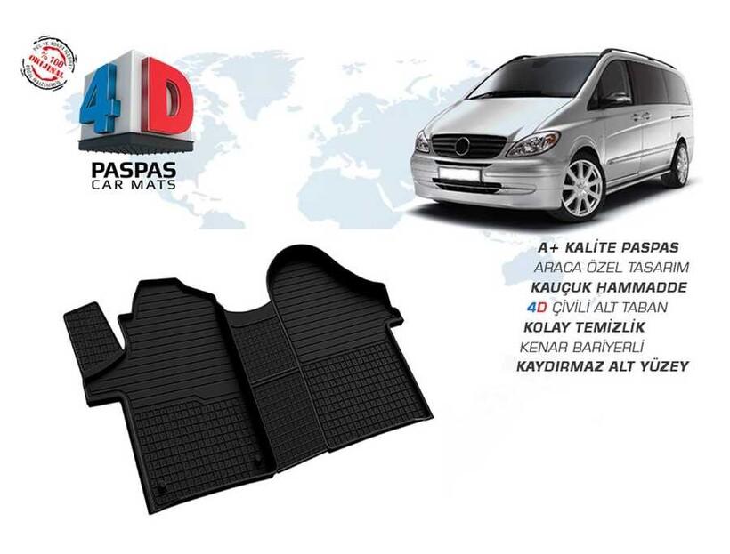 4D Paspas - Mercedes Vito W639 4D Havuzlu Paspas Siyah 2003-2015 Arası