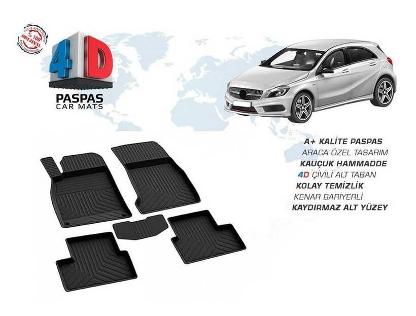 4D Paspas - Mercedes A Serisi W176 4D Havuzlu Paspas Siyah 2013 ve Sonrası