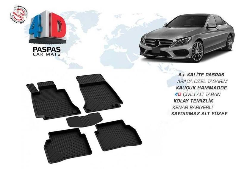 4D Paspas - Mercedes W205 C Cerisi 4D Havuzlu Paspas Siyah 2015 ve Sonrası