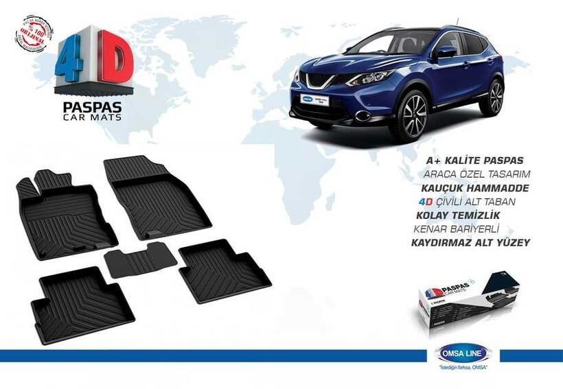 4D Paspas - Nissan Qashqai 4D Havuzlu Paspas Siyah 2014 ve Sonrası