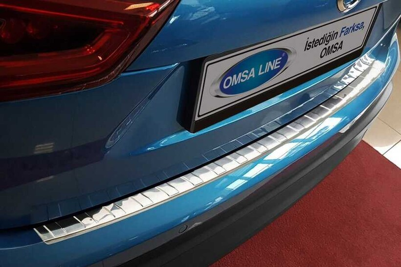 Krom Aksesuar » Omsa - Nissan Qashqai Krom Arka Tampon Eşiği Taşlı 2017 ve Sonrası