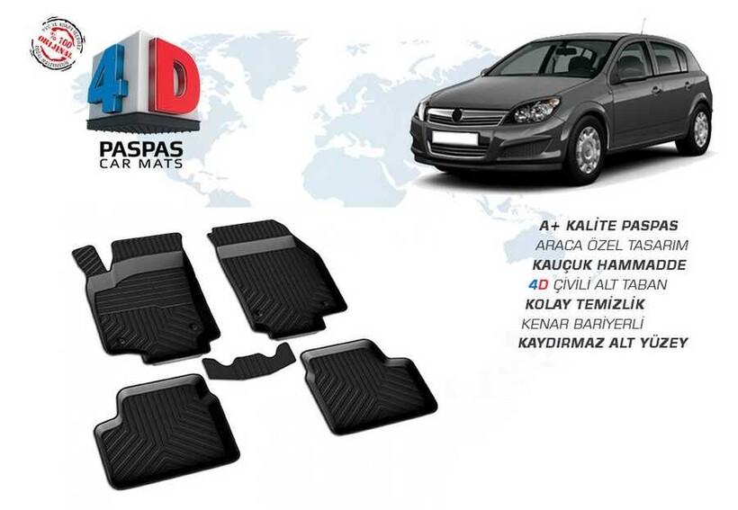 4D Paspas - Opel Astra H 4D Havuzlu Paspas Siyah 2004 ve Sonrası