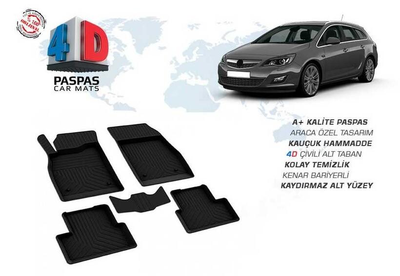 4D Paspas - Opel Astra J 4D Havuzlu Paspas Siyah 2009 ve Sonrası