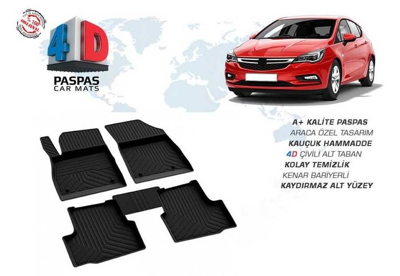4D Paspas - Opel Astra K 4D Havuzlu Paspas Siyah 2015 ve Sonrası