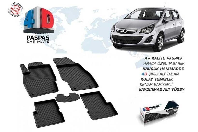 4D Paspas - Opel Corsa D 4D Havuzlu Paspas Siyah 2006-2015 Arası