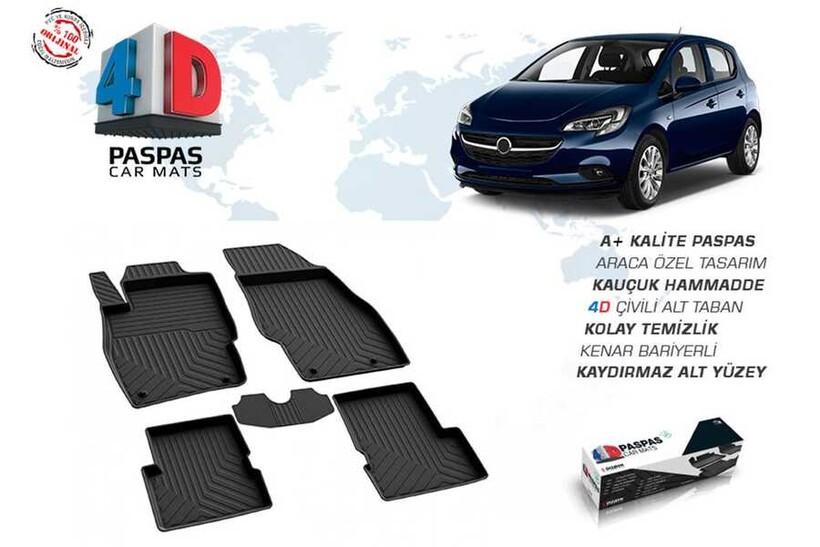 4D Paspas - Opel Corsa E 4D Havuzlu Paspas Siyah 2014 ve Sonrası