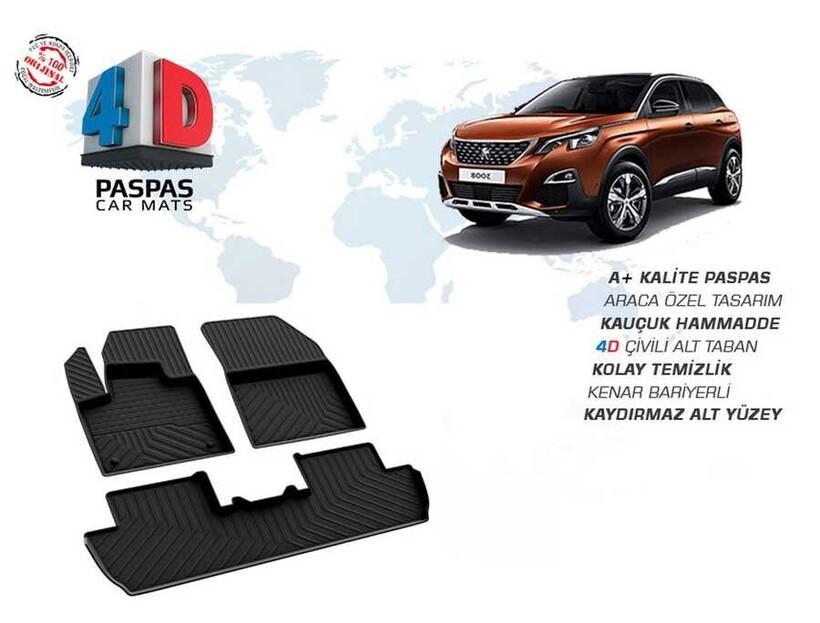4D Paspas - Peugeot 3008 GT-LINE 4D Havuzlu Paspas Siyah 2016 ve Sonrası