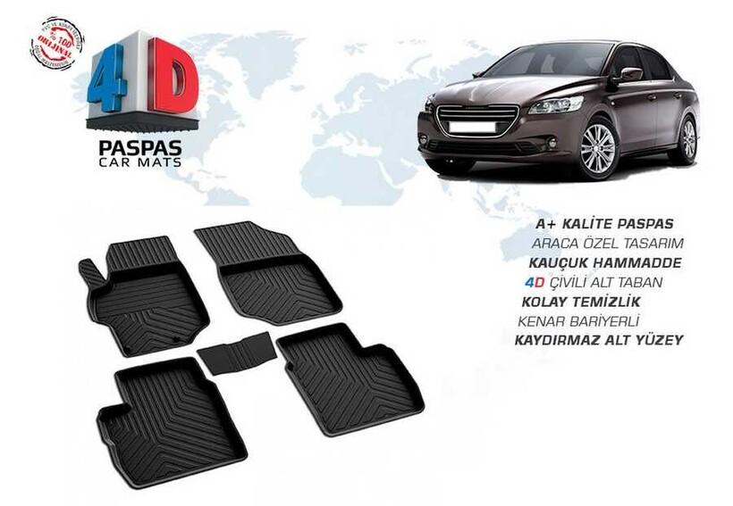 4D Paspas - Peugeot 301 4D Havuzlu Paspas Siyah 2013 ve Sonrası