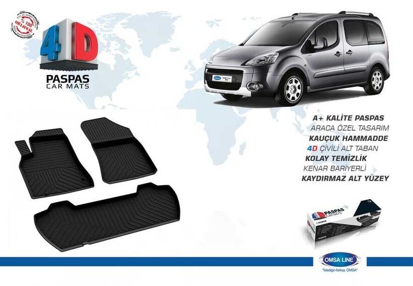 4D Paspas - Peugeot Partner 2 Tepee 4D Havuzlu Paspas Siyah 2008-2018 Arası