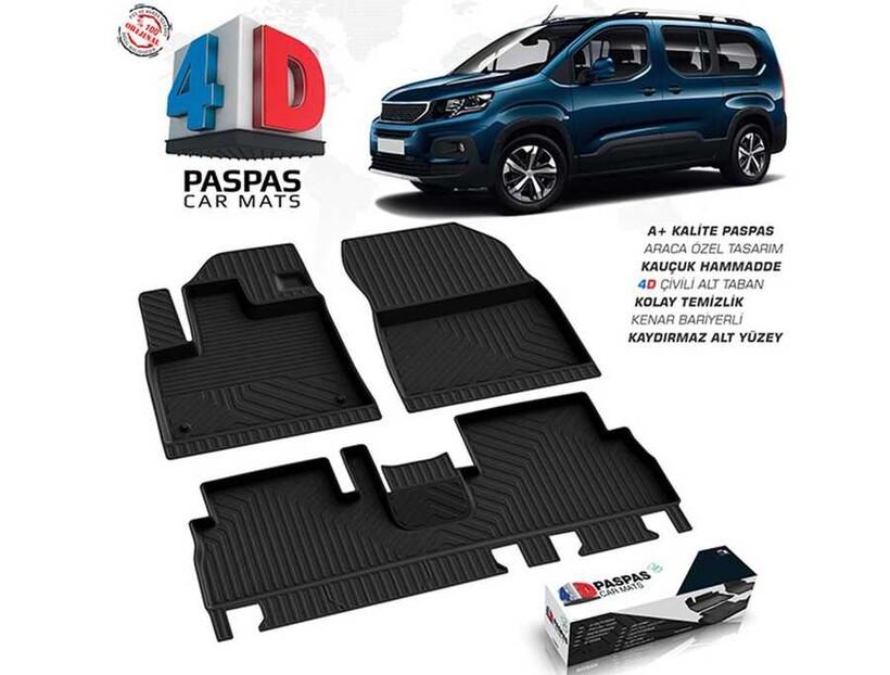 4D Paspas - Peugeot Rifter 4D Havuzlu Paspas Siyah 2019 ve Sonrası