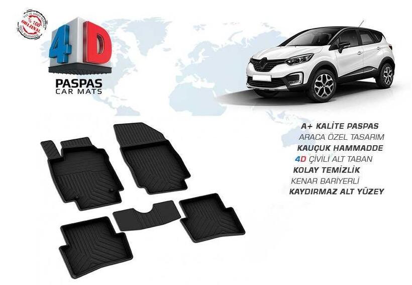 4D Paspas - Renault Captur 4D Havuzlu Paspas Siyah 2012 ve Sonrası
