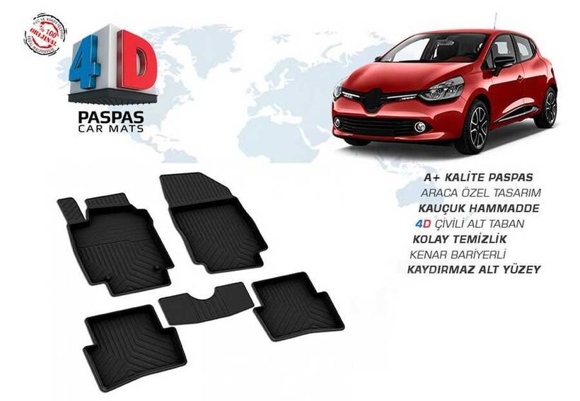 4D Paspas - Renault Clio 4 4D Havuzlu Paspas Siyah 2012 ve Sonrası