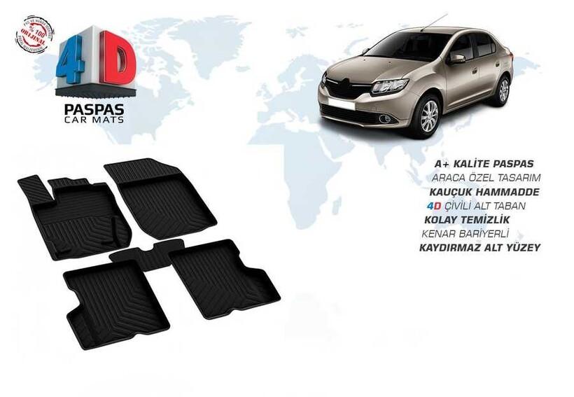 4D Paspas - Renault Clio Symbol 3 4D Havuzlu Paspas Siyah 2013 ve Üzeri