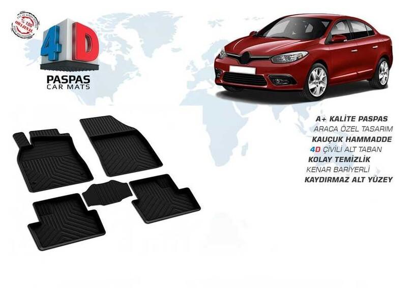 4D Paspas - Renault Fluence 4D Havuzlu Paspas Siyah 2010 ve Sonrası