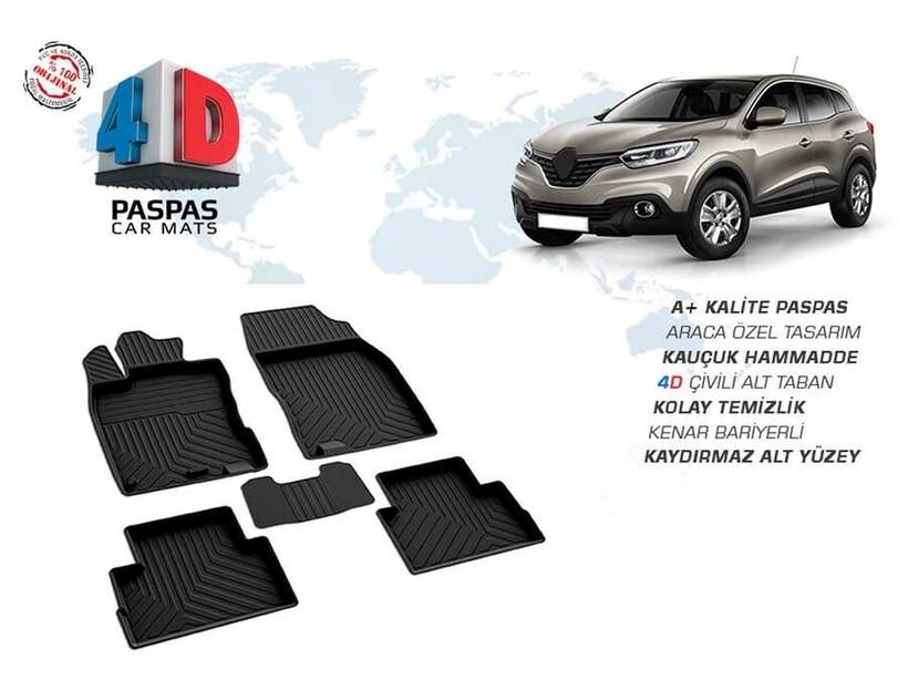 4D Paspas - Renault Kadjar 4D Havuzlu Paspas Siyah 2014 ve Sonrası