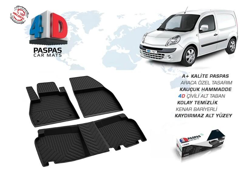 4D Paspas - Renault Kangoo 2 4D Havuzlu Paspas Siyah 2008 ve Sonrası
