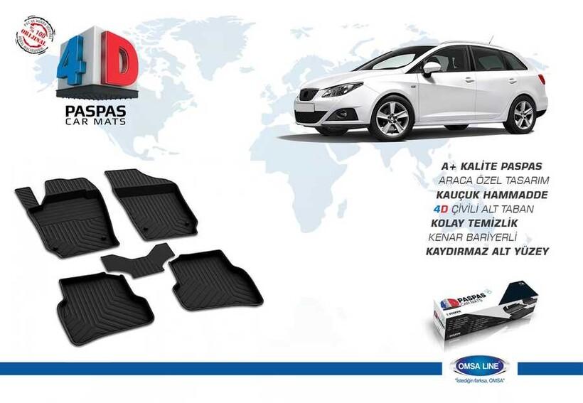 4D Paspas - Seat Ibıza 6J 4D Havuzlu Paspas Siyah 2009-2017 Arası