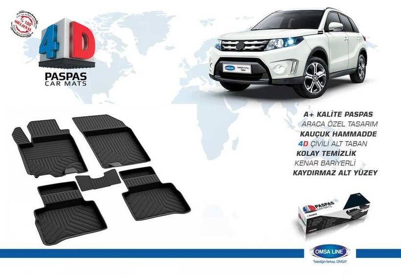 4D Paspas - Suzuki Vitara 4D Havuzlu Paspas Siyah 2015 ve Sonrası
