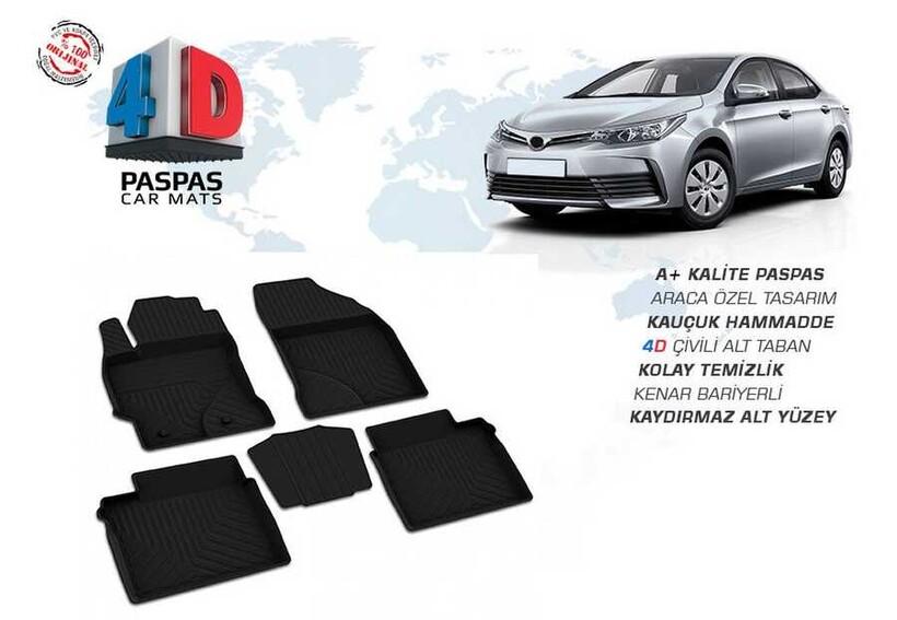 4D Paspas - Toyota Corolla 4D Havuzlu Paspas Siyah 2013-2018 Arası