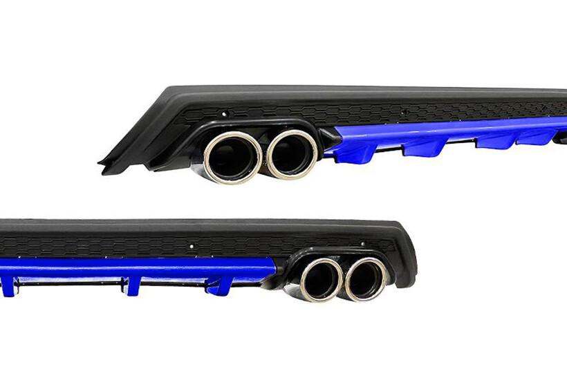 Body Kit » Plastik - Universal Difüzör Elit BL 4 Krom Egzoz-Mavi/Mat Siyah Abs Plastik