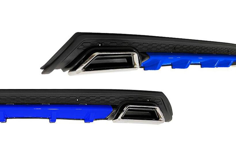 Body Kit » Plastik - Universal Difüzör Elit Plus BL 2 Krom Egzoz-Mavi/Mat Siyah Abs Plastik